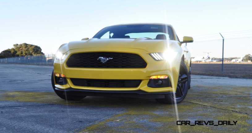 HD Road Test Review - 2015 Ford Mustang EcoBoost in Triple Yellow with Performance Pack 176