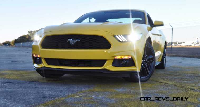 HD Road Test Review - 2015 Ford Mustang EcoBoost in Triple Yellow with Performance Pack 177