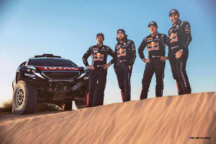 Cyril Despres, David Castera, Jean-Paul Cottret and Stephane Peterhansel pose for a portrait during the Peugeot test in Erfoud, Morocco, on June 16th, 2015