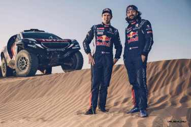 Cyril Despres and David Castera pose for a portrait during the Peugeot test in Erfoud, Morocco, on June 16th, 2015 // Flavien Duhamel/Red Bull Content Pool // P-20150811-00137 // Usage for editorial use only // Please go to www.redbullcontentpool.com for further information. //