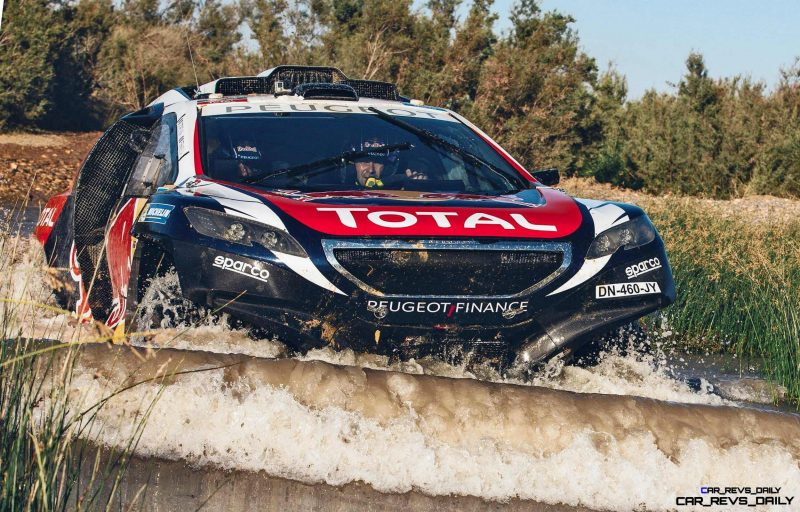 Cyril Despres and David Castera performs during the Peugeot test in Erfoud, Morocco, on June 17th, 2015