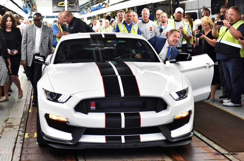 FLAT ROCK, MI., August 20, 2015--Bill Ford, executive chairman (driving) and Jimmy Settles, UAW vice president and director, National Ford Department,.drives the first all-new Ford Shelby(r) GT350R today at Ford's Flat Rock Assembly Plant. The new GT350R Mustang is the most athletic Mustang ever, designed to tackle the world's most challenging roads and race tracks while creating an exhilarating experience for the driver. Photo by: Sam VarnHagen