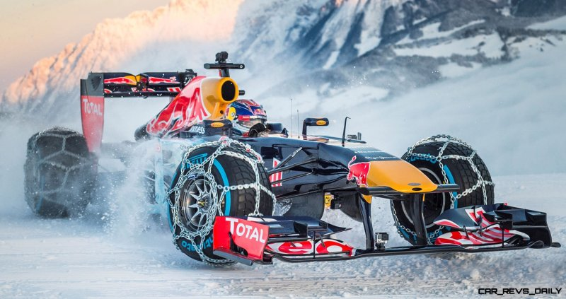 Max Verstappen performs during the F1 Showrun at the Hahnenkamm
