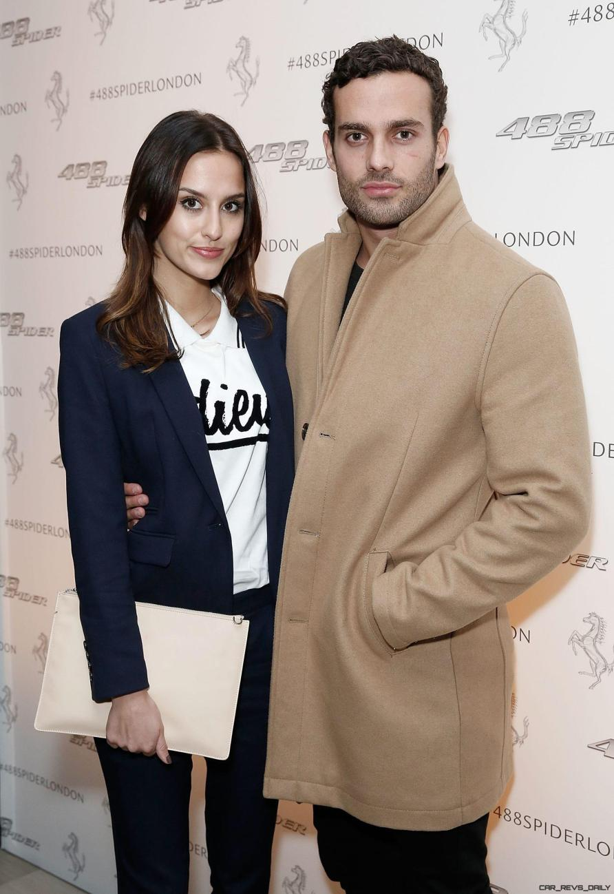 Lucy Watson and James Dunmore at the UK launch of the Ferrari 488 Spider at the Watches of Switzerland store, London