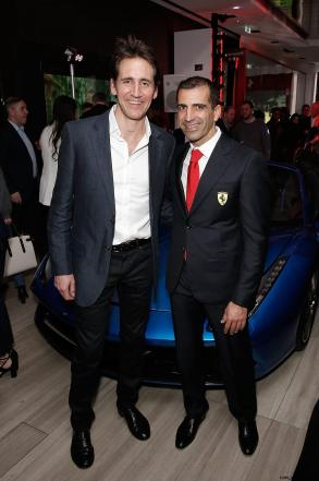 Tom Clarkson BBC F1 and Marc Gene at the UK launch of the Ferrari 488 Spider at the Watches of Switzerland store, London