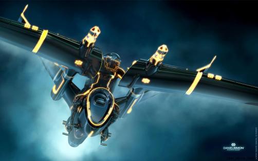 Tron Legacy Light Jet design by Daniel Simon. Copyright Disney Enterprises