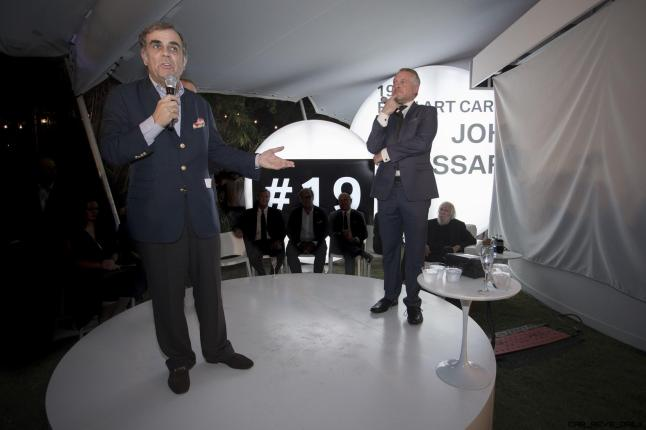 Ludwig Willisch and Dr. Thomas Girst celebrated the world premiere of the 19th BMW Art Car, created by renowned American artist John Baldessari, at Art Basel in Miami Beach on Wednesday, November 30, 2016.