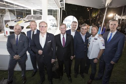 Marc Spiegler, Global Director, Art Basel, Dr. Thomas Girst, Hans-Kirstian Hoejsgaard, CEO, Davidoff, John Mathews, Head of Private Wealth Management Americas, UBS, Jens Marquardt, Ludwig Willisch, Bill Auberlen, and Ed Bennet, CEO, IMSA & EVP, Chief Administrative Officer, NASCAR celebrated the world premiere of the 19th BMW Art Car, created by renowned American artist John Baldessari, at Art Basel in Miami Beach on Wednesday, November 30, 2016.