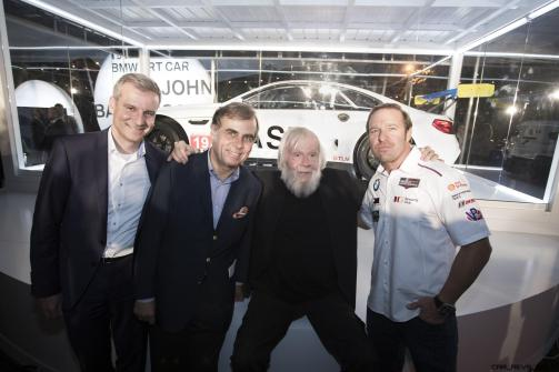 Jens Marquardt, Ludwig Willisch, John Baldessari, and BIll Auberlen celebrated the world premiere of the 19th BMW Art Car, created by renowned American artist John Baldessari, at Art Basel in Miami Beach on Wednesday, November 30, 2016.