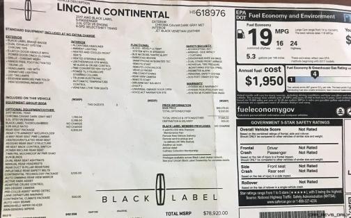 Lincoln Continental 2017 Interior 35