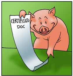 Figura animata di suino che mostra un documento che provenienza della carne.