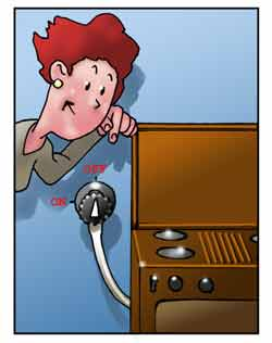 Una donna posiziona la manopola del gas in chiusura prima di uscire di casa