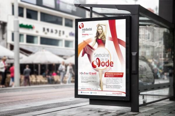 Médiacité - Shopping, Loisirs, Plaisir - Liège - Centre Commercial - Galerie Commerçante - Euregio - Shopping - Caractère Advertising - Plan Média - Print, Radio, Vidéo - Storyboard - Mock-Up Affichage bus - Semaine de la Mode