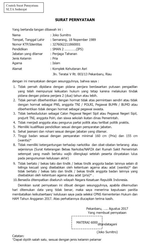 Format Surat Pernyataan SLTA