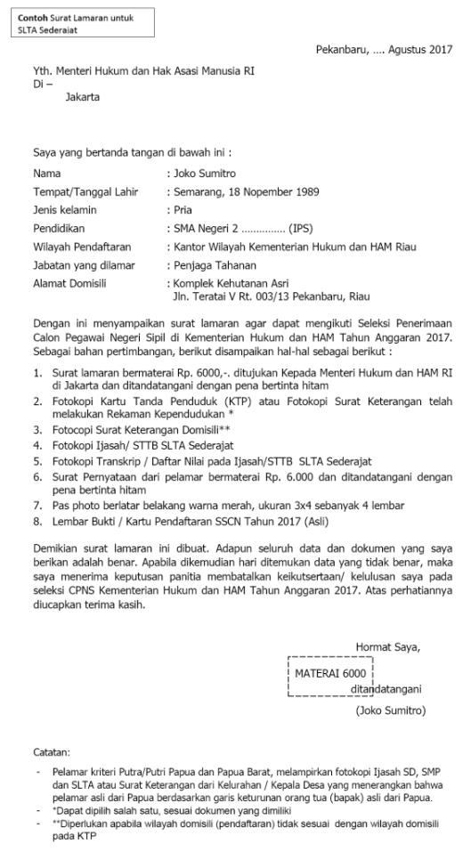 surat pernyataan lamaran cpns 2018