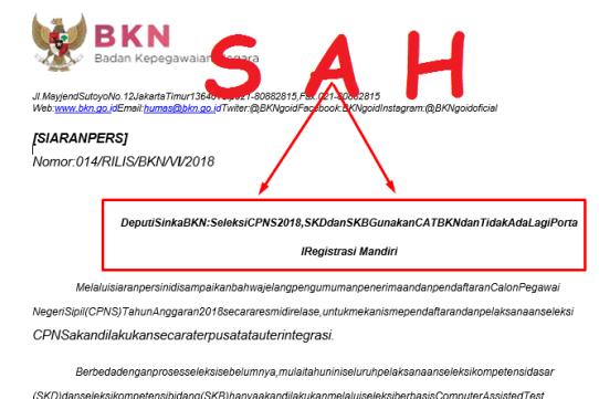 Seleksi CPNS 2018, SKD dan SKB Gunakan CAT BKN dan Tidak Ada Lagi Portal Registrasi Mandiri