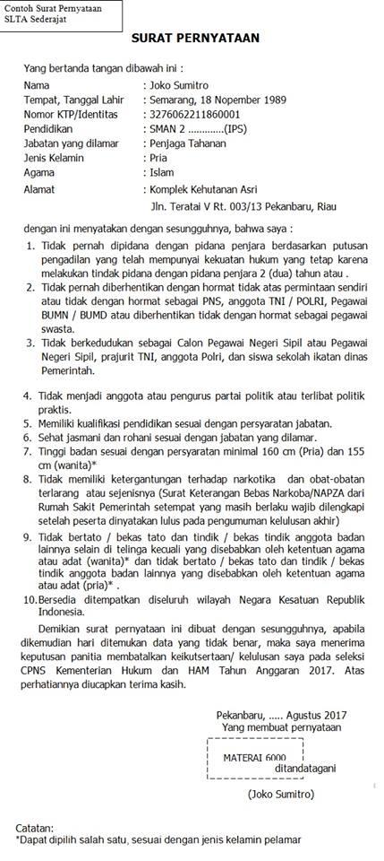 contoh surat pernyataan cpns 2018 download format surat