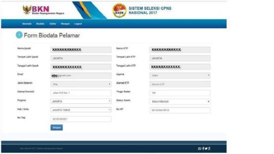 form-biodata-pelamar cpns 2018