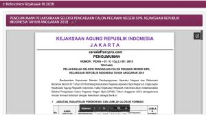 Hasil Akhir Seleksi CPNS Kejagung 2018