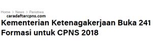 Download Pengumuman Hasil Seleksi Administrasi CPNS Kemnaker 2018