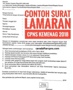 Contoh Surat Lamaran CPNS Kemenag 2018