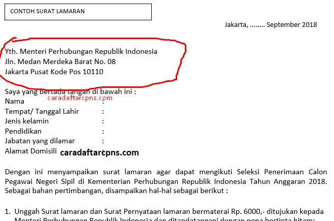 Contoh Surat Lamaran Dan Pernyataan Cpns Kemenhub 2018