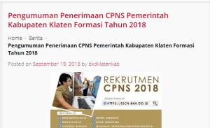 Pengumuman Hasil Tes SKD CPNS Kabupaten Klaten 2018