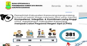 Pengumuman Hasil Tes SKD CPNS Kabupaten Karawang 2018