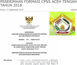 Pengumuman Hasil Tes SKD CPNS Kabupaten Aceh Tengah 2018