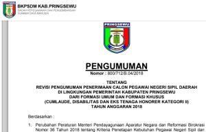 Hasil Tes SKB CPNS Kabupaten Pringsewu 2018 Lulus Wawancara Psikotes