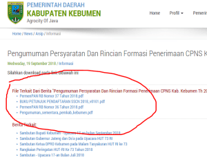 Pengumuman Hasil Tes SKD CPNS Kabupaten Kebumen 2018