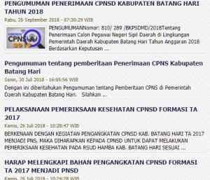 Pengumuman Hasil Tes SKD CPNS Kabupaten Batang Hari 2018