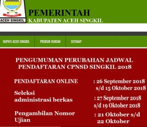 Pengumuman Hasil Tes SKD CPNS Kabupaten Aceh Singkil 2018