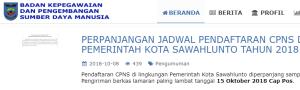 Pengumuman Hasil Tes SKD CPNS Kota Sawahlunto 2018