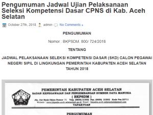 Pengumuman Hasil Tes SKD CPNS Kabupaten Aceh Selatan 2018