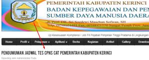 Pengumuman Hasil Tes SKD CPNS Kabupaten Kerinci 2018