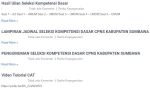 Pengumuman Hasil Tes SKD CPNS Kabupaten Sumbawa 2018