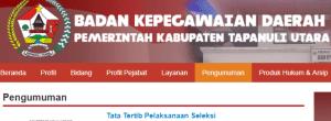 Pengumuman Hasil Tes SKD CPNS Kabupaten Tapanuli Utara 2018