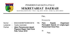 Pengumuman Hasil Tes CAT SKD CPNS Kota Palu 2018