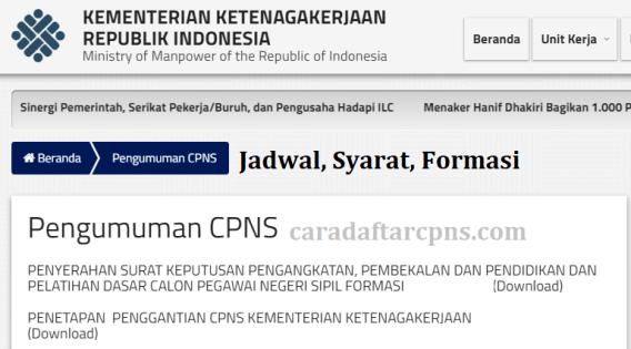 Hasil Seleksi Administrasi CPNS Kemnaker 2021