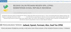 Jadwal Pendaftaran CPNS 2021 Kemensos Lulusan SMA SMK D3 S1 S2