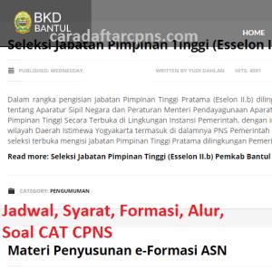 Jadwal Pendaftaran CPNS Kabupaten Bantul 2021 Lulusan SMA SMK D3 S1 S2