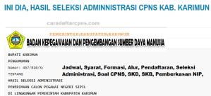 Pengumuman Hasil SKD SKB CPNS Kab Karimun 2019 2020