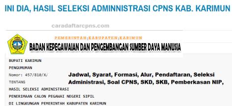 Pengumuman CPNS Kabupaten Karimun 2021 Lulusan SMA SMK D3 S1 S2