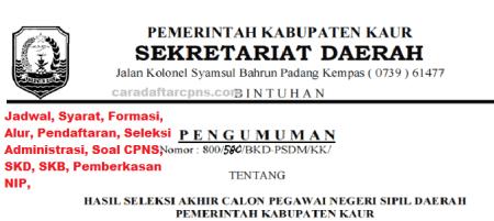 Pengumuman CPNS Kabupaten Kaur 2021 Lulusan SMA SMK D3 S1 S2