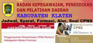 Pengumuman Hasil SKB CPNS Kabupaten Klaten Formasi 2019
