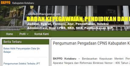 Pengumuman CPNS Kabupaten Kotabaru 2021 Lulusan SMA SMK D3 S1 S2