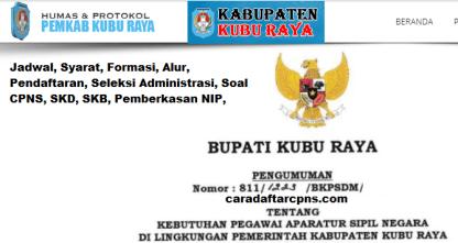 Pengumuman CPNS Kabupaten Kubu Raya 2021 Lulusan SMA SMK D3 S1 S2