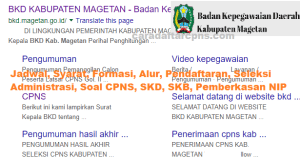 Pengumuman Hasil SKB CPNS Kabupaten Magetan Formasi 2019