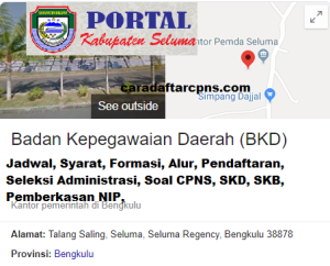 Pengumuman CPNS Kabupaten Seluma 2021 Lulusan SMA SMK D3 S1 S2